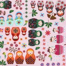 Tissu Timeless Treasures Gail Russian dolls - pink x 20cm