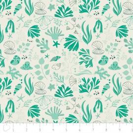 Tissu Camelot Fabrics Sea creatures - turquoise x 15cm