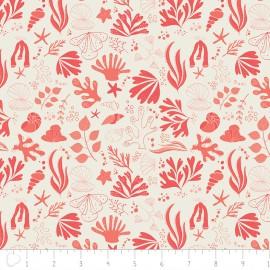Tissu Camelot Fabrics Sea creatures - grapefruit x 15cm