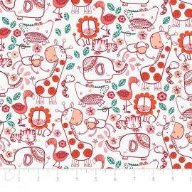 Tissu Camelot Fabrics Jungly friends - white x 20cm