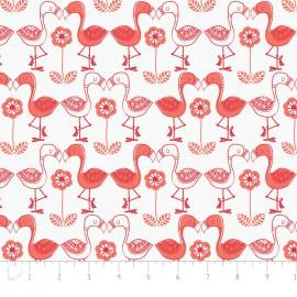 Tissu Camelot Fabrics Jungly flamingos - white x 12cm