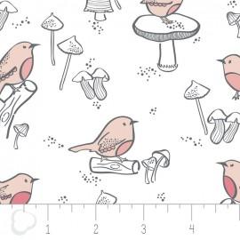 Tissu Camelot Fabrics Little Bird - white x 12cm