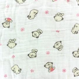 Nursery double gauze fabric - pink Teddy x 10cm