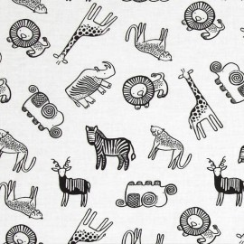 Fabric Dear Stella Safari Animals - white x 15cm