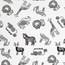 Tissu Dear Stella Safari Animals - white x 15cm