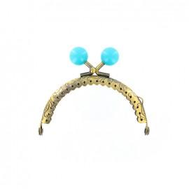 Fermoir bronze Perle - bleu