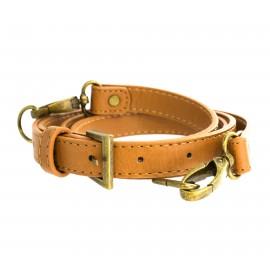 Adjustable faux leather bronze bag-handles - light brown