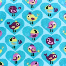 Tissu Velours minkee Birdy - bleu x 10cm