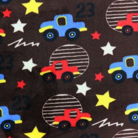 Tissu Velours minkee Stars and cars - marron x 10cm