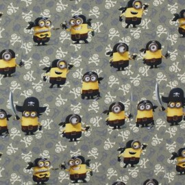 Tissu percale Les Minions Pirates - kaki x 26cm