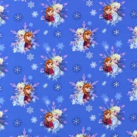 Percale cotton Fabric Reine des Neiges Snowflakes - bleu x 16cm