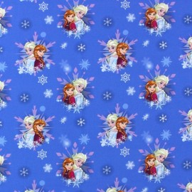 Tissu percale Reine des Neiges Snowflakes - bleu x 16cm