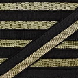 Ruban élastique lamé noir 15 mm - doré x 1m