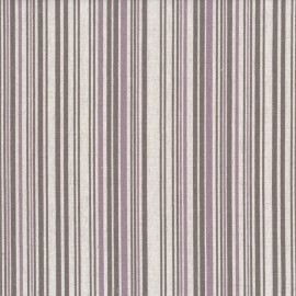 Tissu toile de coton lin Rayures - lilas x 10 cm