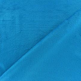 Reversible plain minkee velvet fabric Toodoo - turquoise blue x 10cm