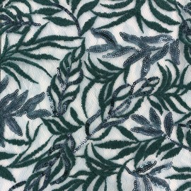 Sequined heavy Lace Fabric Leaf - green blue x 10cm