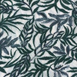 Tissu Dentelle brodée pailletée sur tulle Leaf - bleu vert x 10cm