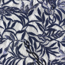 Sequined heavy Lace Fabric Leaf - navy blue x 10cm