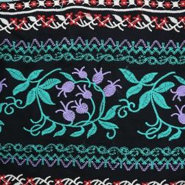 Tissu viscose brodé Gypsy - vert x 10cm
