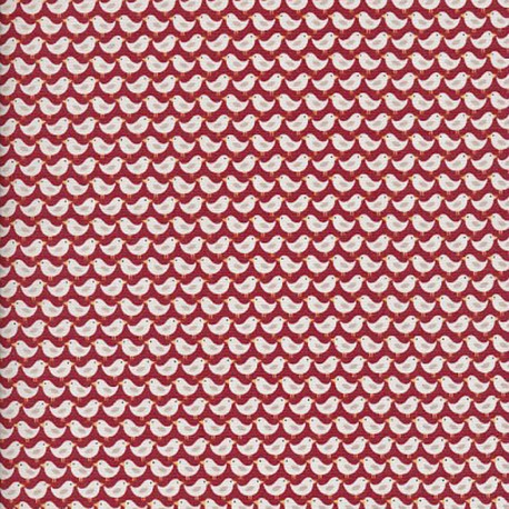 Makower UK cotton fabric Windy day Birds - rust x 10 cm