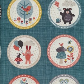 Tissu coton Makower UK Windy day Labels - blue grey x 29cm