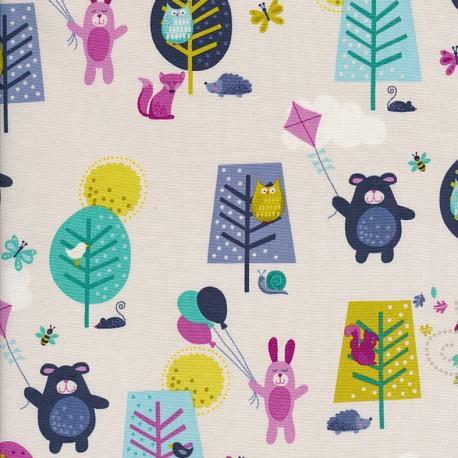 Makower UK cotton fabric Windy day Scenic - turquoise x 10cm