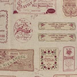 Tissu toile de coton lin Savon - rouge x 61cm