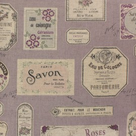 Cotton linen canvas fabric Savon - lavender x 61cm