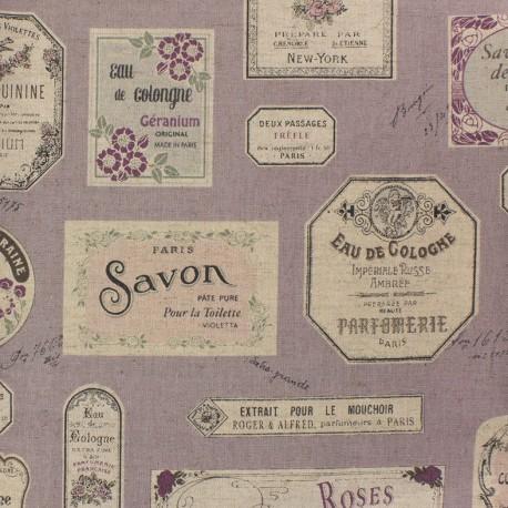 Cotton linen canvas fabric Savon - lavender x 61cm