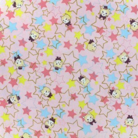 Kokka Echino cotton canvas fabric Trèfle Kitty Stars - pink x 10cm