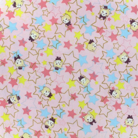 Kokka Echino cotton canvas fabric Trèfle Kitty Stars - pink x 10cm