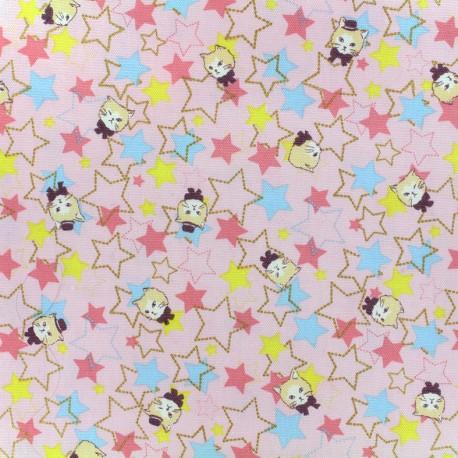 Tissu toile de coton Kokka Trèfle Kitty Stars - rose x 10cm