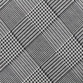 Tissu jacquard stretch Pied de Poule - noir x 10cm