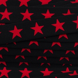 Flat elastic Stars 40 mm - red/black x 1m