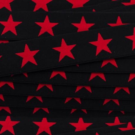 Elastique plat Stars 40 mm - rouge/noir x 1m