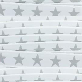 Elastique plat Stars 40 mm - gris/blanc x 1m