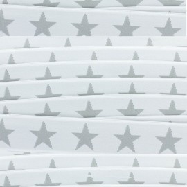 Flat elastic Stars 40 mm - grey/white x 1m