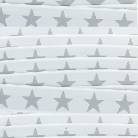 Flat elastic Stars 40 mm - grey/white x 1m