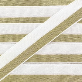 Golden lamé elastic ribbon 15 mm - white x 1m