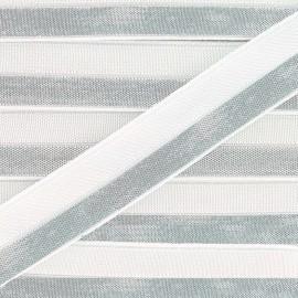 Ruban élastique lamé argent 15 mm - blanc x 1m