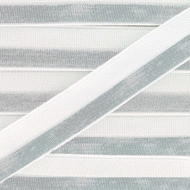 Silvery lamé elastic ribbon 15 mm - white x 1m