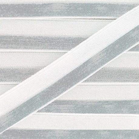 Silvery lamé elastic ribbon 15 mm - white x 1m