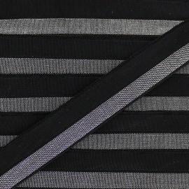 Ruban élastique lamé argent 15 mm - noir x 1m