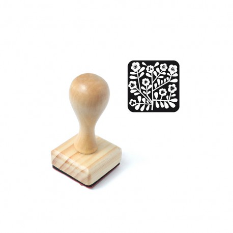 Square wooden Stamp - Fleurette