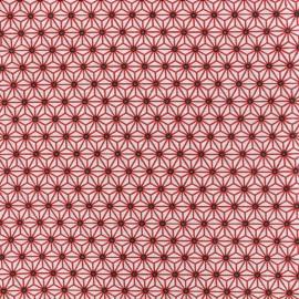 Tissu coton crétonne Saki - blanc/rouge x 10cm
