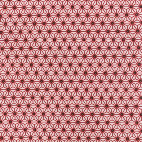 Tissu coton Saki Blanc / Taupe x 10cm