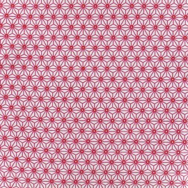Tissu coton crétonne Saki - blanc/rose x 10cm