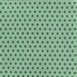 Cretonne cotton Fabric Saki - white/green x 10 cm