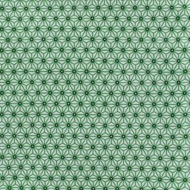 Cretonne cotton Fabric Saki - white/green x 10 cm