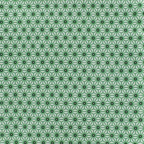 Tissu coton crétonne Saki - blanc/vert x 10cm